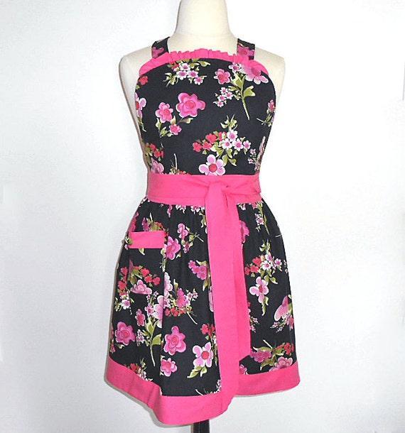 Saia com folhos reunidos jardineiras completo preto florais mulheres retro aventais artesanais flores rosa brilhante em preto-one size fits mais