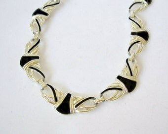 Vintage Gold Tone Black Enamel Necklace Coro Pegasus style