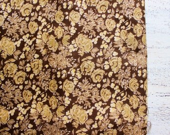 Vintage viscose fabric 4.32 yards brown yellow gold roses floral boho