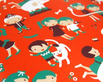 "Gift Wrapping Paper ""KIDS & ANIMALS"" - by danadamki, A5 size, 10 sheets"