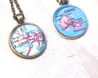 City Dome Necklaces Upcycled From Vintage Maps Handmade Jewelry Select Your City