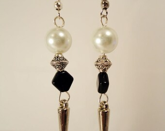 Spike with Black, Pearl and Silver Bead Earrings