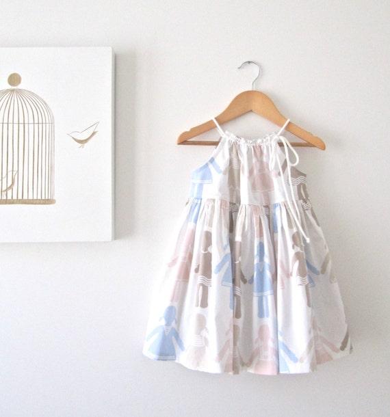 LAST ONE 20% OFF--Paper Dolls Baby Dress-Toddler Sundress-Beach Photo-Summer Dress-Girls Tunic--Handmade Children Clothing by Chasing Mini