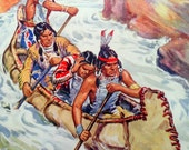 1950 Native Americans in CANOE Rapids PRINT Ideal for Framing or Scrapbooking