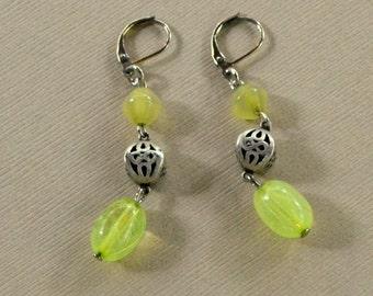 Kiwi Green Light Chartreuse Boho Dangle Earrings Silver Cutout Glass Beaded Lever Back Long Dangles Fashion Jewelry Bohemian Free Shipping