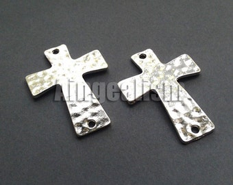 5 Hammered Crosses Silver Hammered Cross Sideways Cross Connector 27.5 x 38mm, CC004
