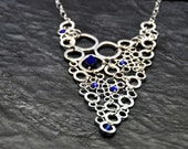 Sterling Silver plated Bubble Delights Statement Necklace with cobalt blue czech crystals - BBTAR