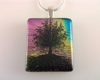 Tree of Life Dichroic Glass Pendant, Fused Glass Jewelry, Tree of Life Rainbow Necklace