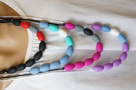 teething beads adjustable necklace for mom or dad round