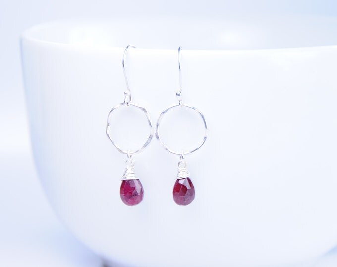 Ruby Gemstone Earrings, Silver + Gemstone Earrings, Silver Jewelry, July Birthstone,Red Stone Earrings,Silver Hooks, July Earrings, Handmade