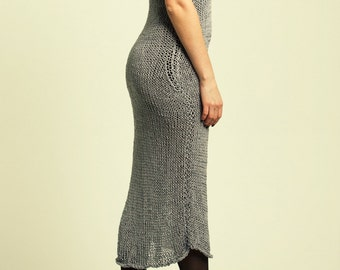 Summer Dress / Summer Knit Dress / Cover Up Dress / Beach Dress  / Silver Knitted Dress / Maxi Dress