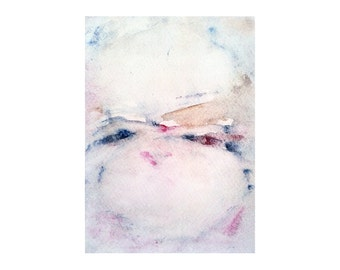"""SALE !!! Undefined connection. Abstract painting, original landscape in ruby red and blue tones. 4.5""""x6"""""""
