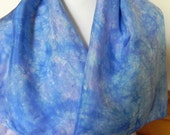 Large Square Silk Scarf Hand Dyed Shades of Blues and Lavender, 35 square inches, Ready to Ship