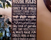 Grandparents' House Rules Wooden Primitive Sign