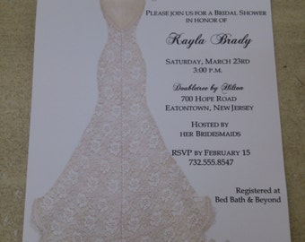 BRIDAL SHOWER INVITATIONS  - Lace Dress with Shoes Personalize your font color and and choice of fonts!