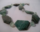 Chunky Beaded Necklace, Green Jasper Slabs, Green Glass, .925 Sterling Silver Toggle Clasp
