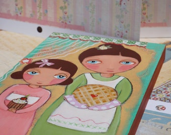 Original painting on wood, Cooking with Mom, 6x9 inch (15 x 22.5 cm) Mixed Media Folk Art by Evona