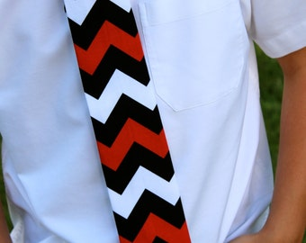 Black, White and Red Chevron tie for Newborn to ages 10/12