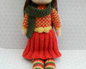 Doll Knitting Pattern/ Knitted Doll/ Toy Knitting Pattern/ Knitting Pattern/ PDF/ Instant Download/Aster - An Autumn Doll