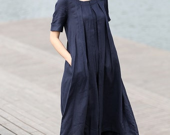 Loose-Fitted Summer Dress - Navy Blue Linen Comfortable Casual Everyday Plus Size Woman's Dress (C270)
