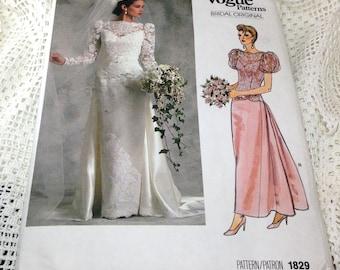 Vogue Bridal Original Pattern, Vogue 1829, Wedding Dress or Bridesmaid Dress