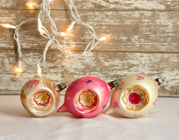 Vintage Pink Christmas Ornaments 1950s indented gold German mercury glass