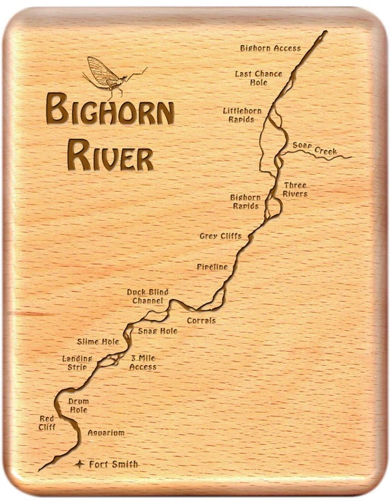 Bighorn river map fly fishing fly box custom by stoneflystudio for Bighorn river fly fishing