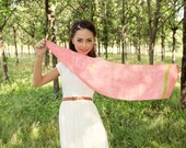Hand painted silk scarf pink with green details. 100 % silk. Small neck scarf size 88 cm x 23 cm. Ready to order.