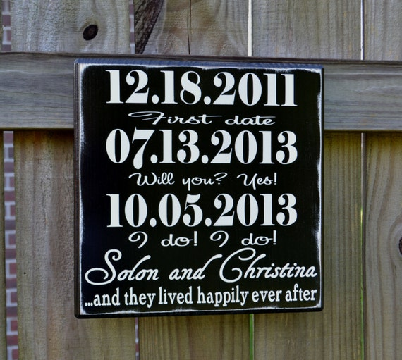 Important date wedding sign - Personalized Wedding Gift - Engagement Gift - Anniversary Gift - Important Date Family Sign