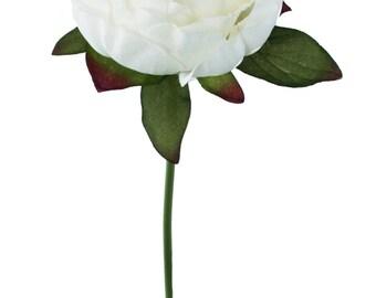 Ivory Peony Stem - Silk Peony Ivory - Wedding Flowers