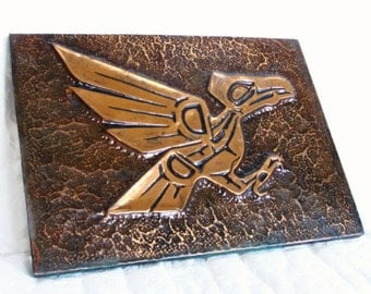 Pacific Northwest Indian Raven Vtg copper pic. Terror bird, Golden Voyage of Sinbad, Prehistoric, Mayan, Wall hanging, Dinosaur room decor