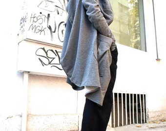 Asymmetric Light Grey Extravagant  Hoodded Coat / French Terry Cotton zipped Jacket A07018