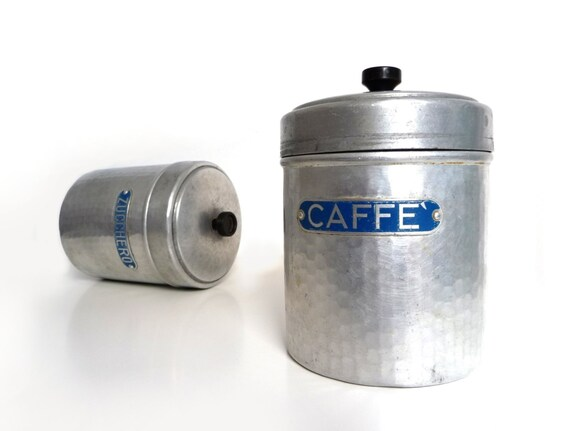Vintage italian kitchen canister set aluminum and bakelite for Italian kitchen set