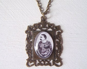 Vintage Tattooed Man Pendant Necklace Jewellery