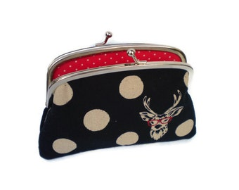 Black kiss lock Wallet, Echino 2 compartment coin purse,in geek stag fabric in black spots