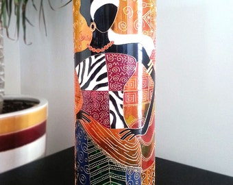AFRICAN VASE Hand Painted Glass, Home Decor, Center Piece, Tribe Inspired, Vibrant Colours, Fashion Inspired, housewarming or birthday gift