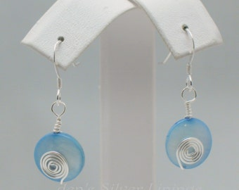Silver and Blue Handcrafted Mother of Pearl Earrings, Wire Wrapped Dangle Earrings, Blue Moon Silver Swirls