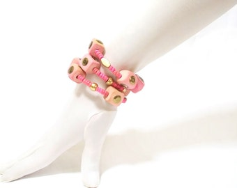 BIG SALE, Stacked Bracelets, Boho Bracelet, Pink, Rustic, Cubes, Rosary bracelet, Layered Bracelet, Charm Artisan Jewelry, Pink wood