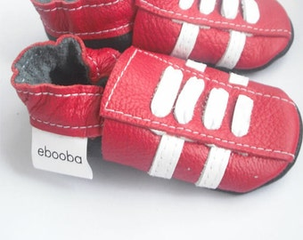 soft sole baby shoes leather infant sport red white 6 12 m ebooba SP-29-R-M-2