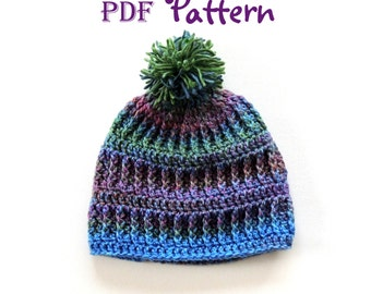 PDF CROCHET PATTERN - Make It Yourself: Snow Country Crochet Beanie Pattern, Hat Pattern, Unisex Design, Digital Download, Lots of Photos