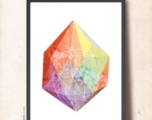 Mother's day gift. GEOMETRIC art Print. Jewel Gemstone poster 50x70cm, Gem Facet Wall Decor, Abstract imaginary Precious Stone