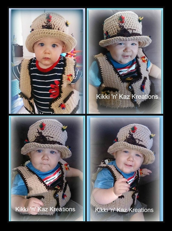 Toddler fishing hat and vest by kikkinkazkreations on etsy for Toddler fishing vest