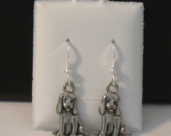 Pewter Beagle Charms on Sterling Silver Ear Wire Dangle Earrings - Free Shipping in the US - (5502)
