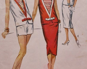 McCall's 4573 / 1950s Nautical Look / Inset Top / Pencil Skirt/ Shorts/Vintage Sewing Pattern/ Multiple Size