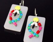 Vintage Hand Painted Earrings with Lucite