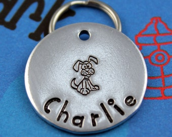 Custom Metal Dog Tag - Unique Pet Tag - Hand Stamped - Custom Dog Name Tag