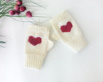 Knit Fingerless Gloves in Ivory, Cherry Embroidered Heart, Heart Knit Gloves, Fingerless Mittens, Arm Warmers, Wool Blend, Made to Order