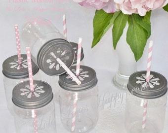 Plastic Mason Style Jar, Shabby Chic with Free ChalkBoard Vinyl Labels 14 BPA FREE Plastic Jars/ Daisy LIDS  , Wedding, Cake in a Jar, Kids