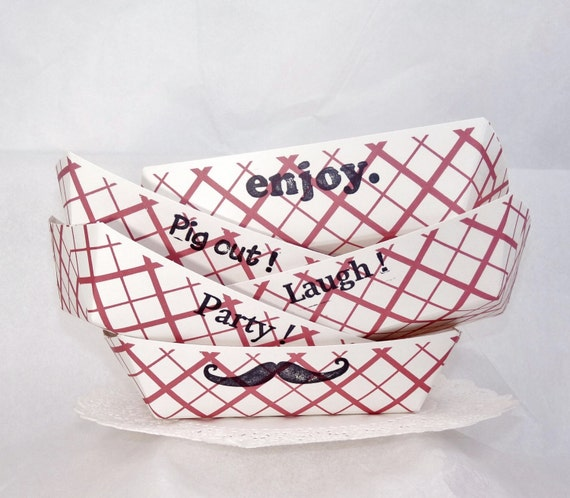 Basket Weaving Supplies Kentucky : Old school kraft paper snack trays hand stamped party