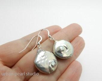 Big Pearl Earrings, Silver Gray Pearl Earrings, Grey Pearl Earrings, Baroque Pearl Earrings, Coin Pearl Drops, Large Pearl Earrings